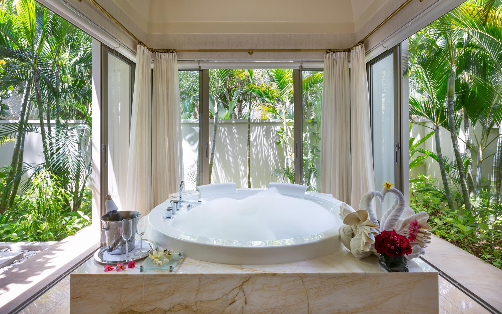 Bathtub with a view at The Mulia, in Bali