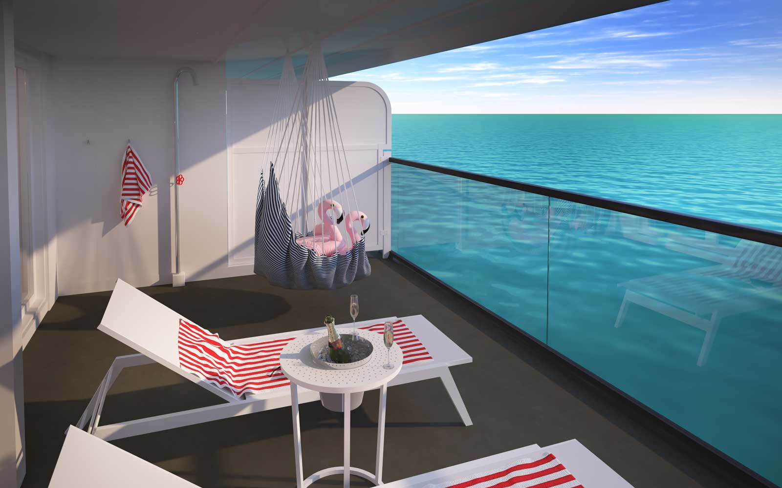 Gorgeous Suite Terrace on board Virgin Cruises Scarlet Lady Ship
