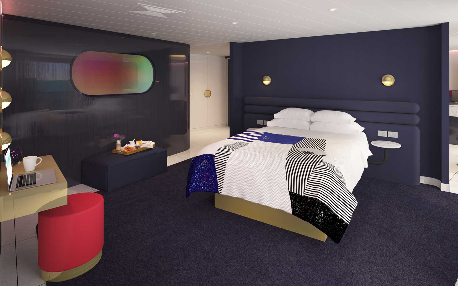 Posh Suite Bedroom on board Virgin Cruises Scarlet Lady Ship