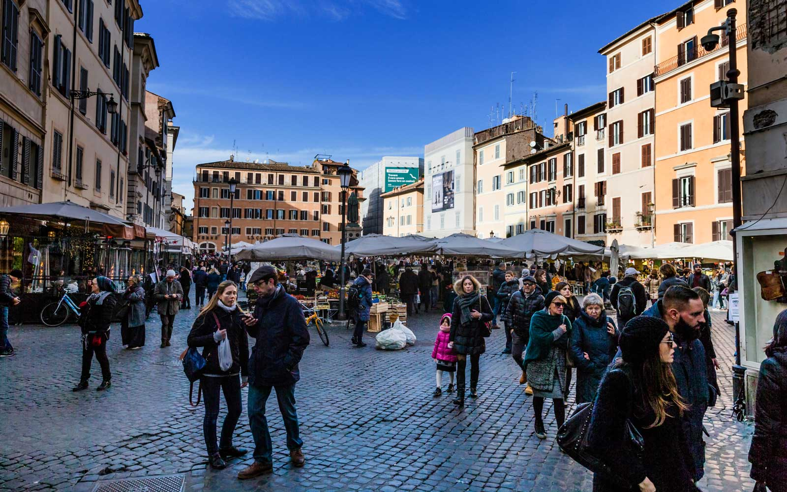 Campo de Fiori is a rectangular square south of Piazza Navona in Rome, Italy, at the border between rione Parione and rione Regola.