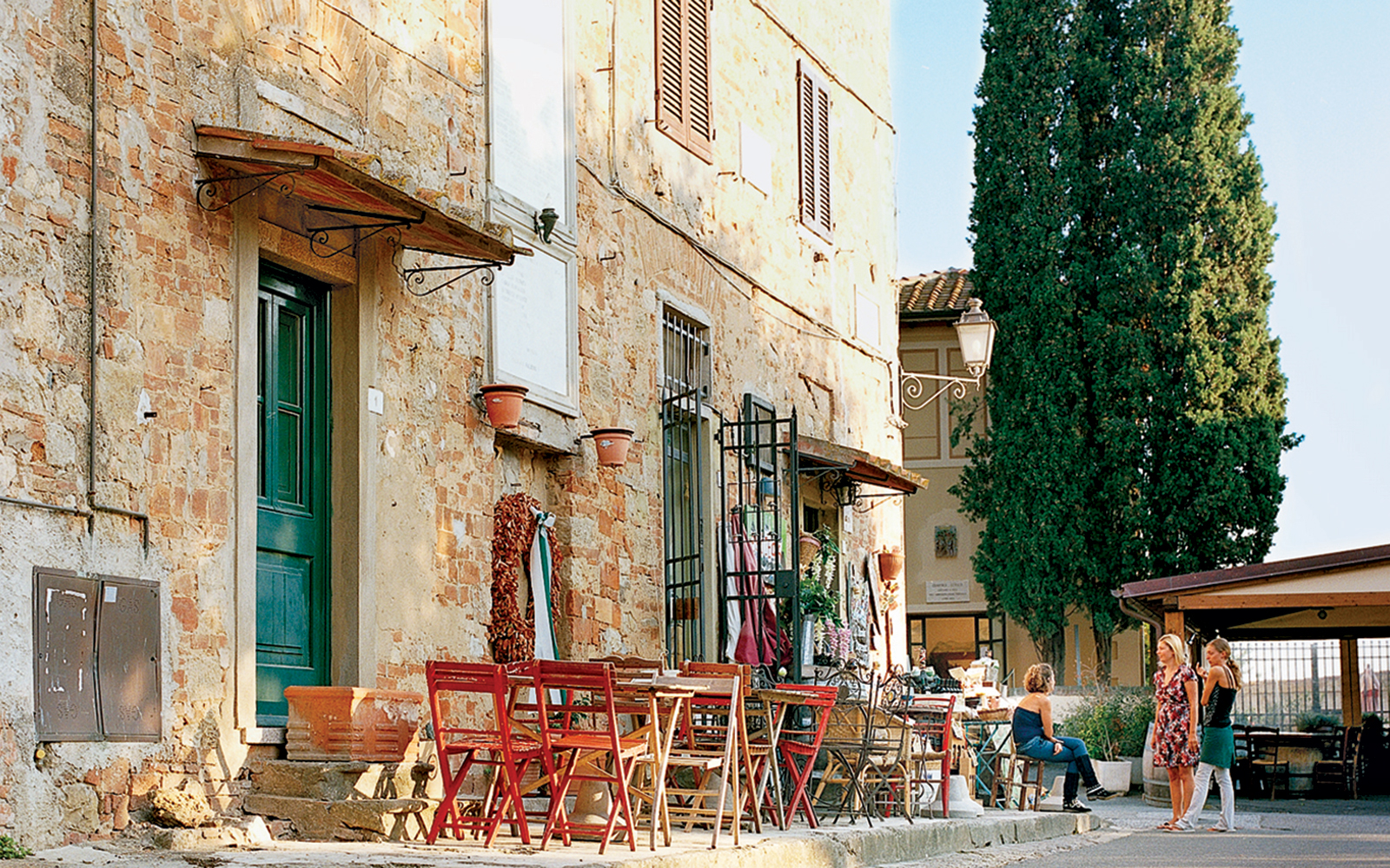 small town street cafe in Bolgheri, Italy