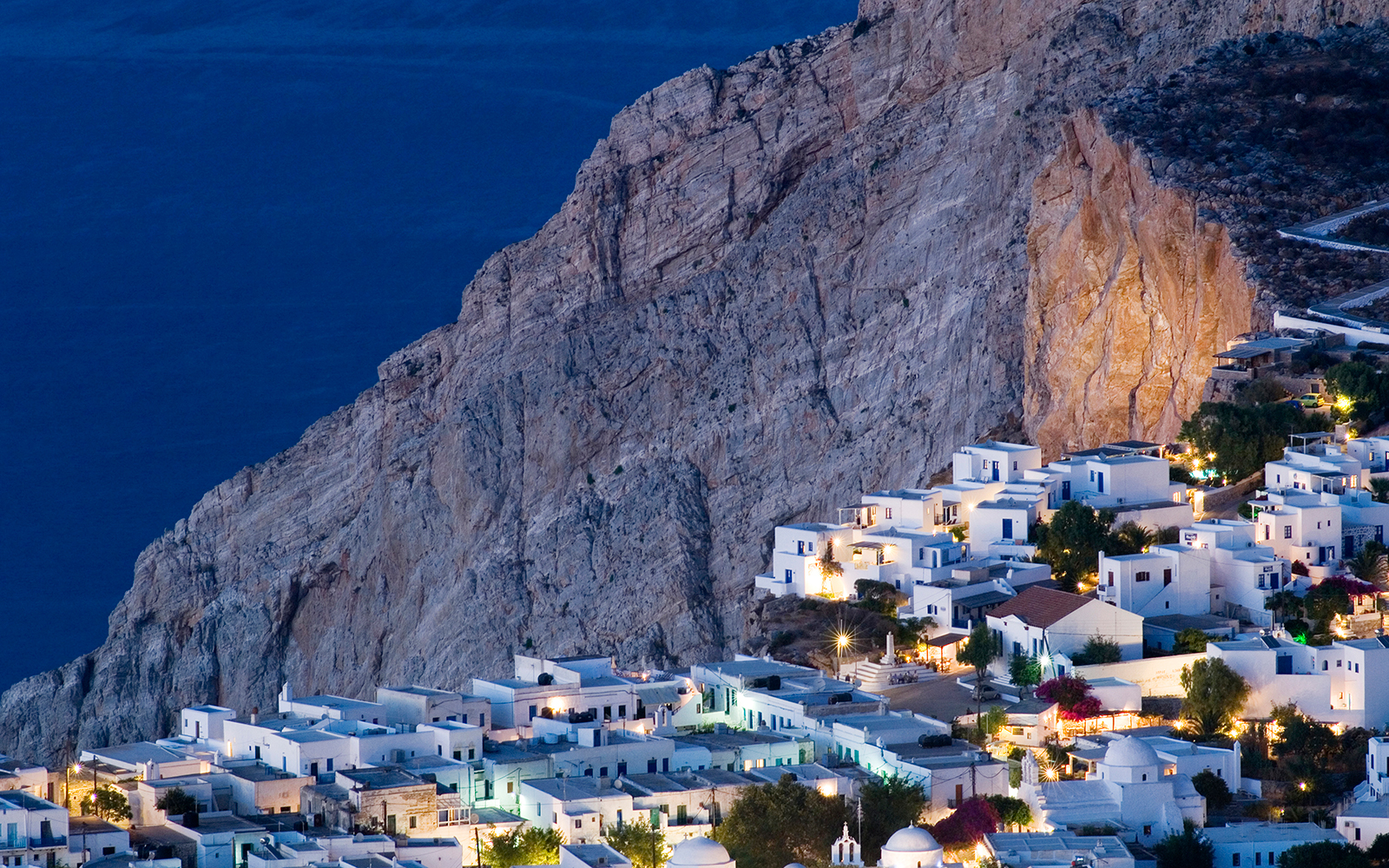 homes on the cliff in Folégandros, Greece
