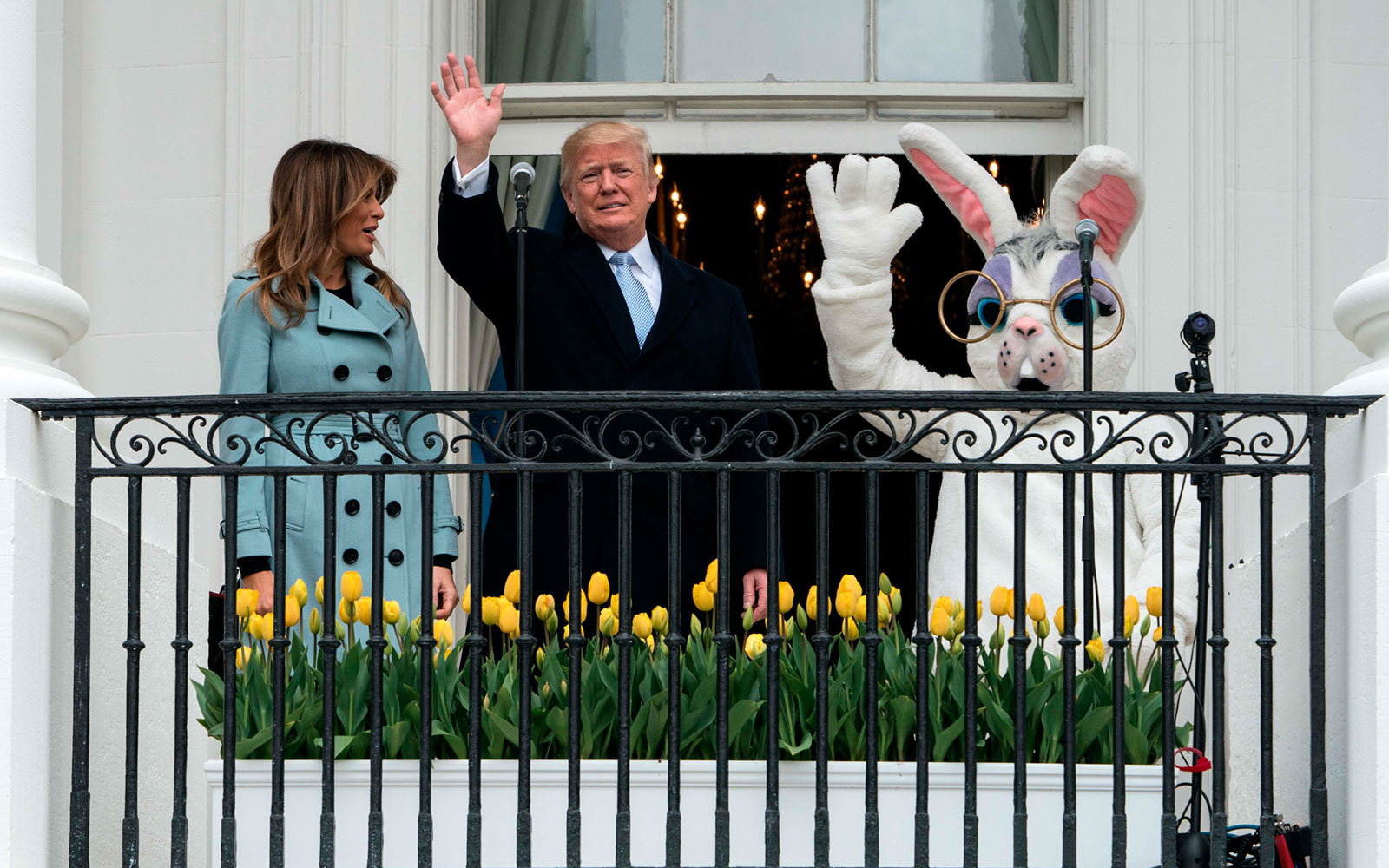 Donald and Melania Trump at the White House Easter Egg Roll in 2018