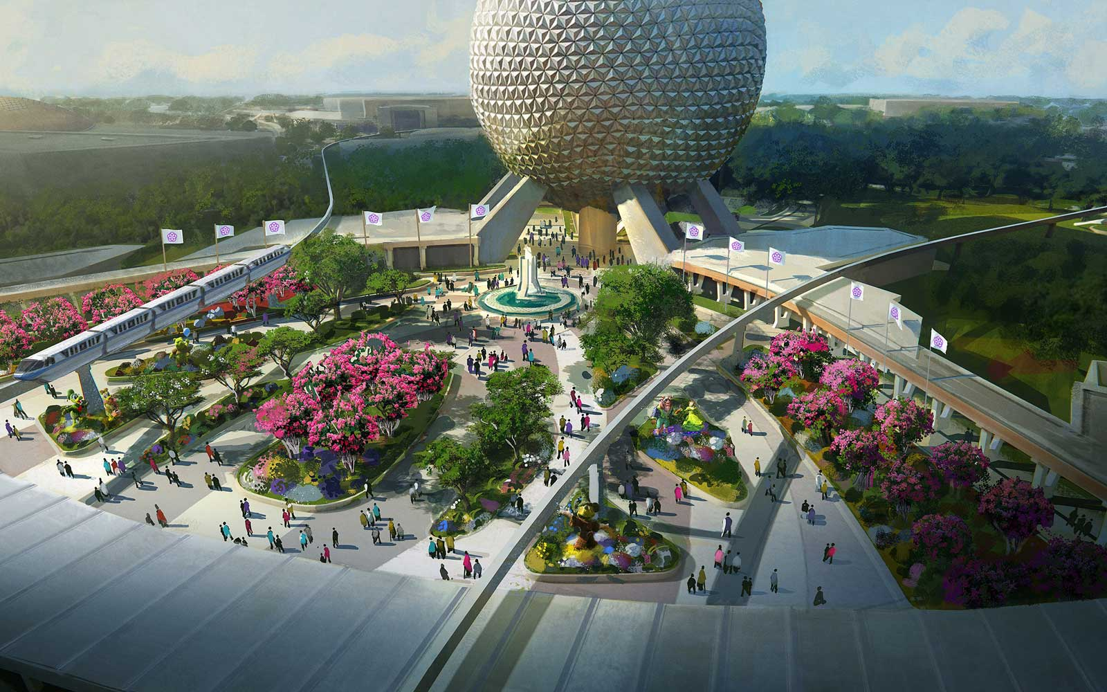 Birdseye view rendering of the new play pavilion at Disney