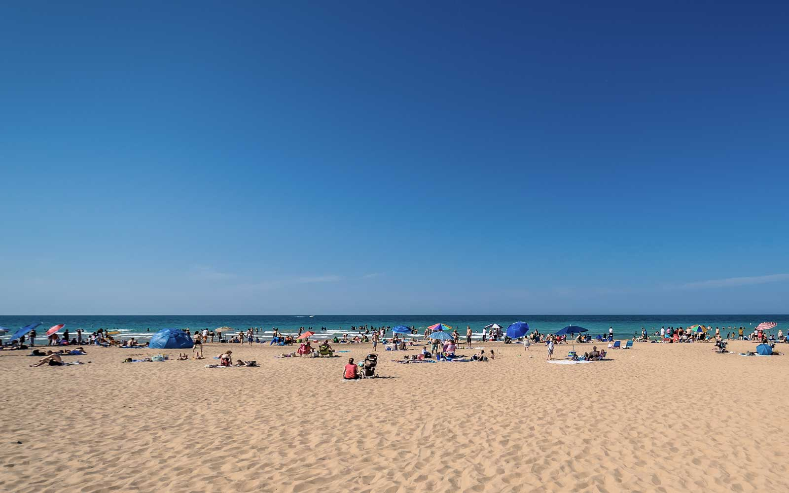 Blue sky above beach at the Indiana Dunes National Lakeshore