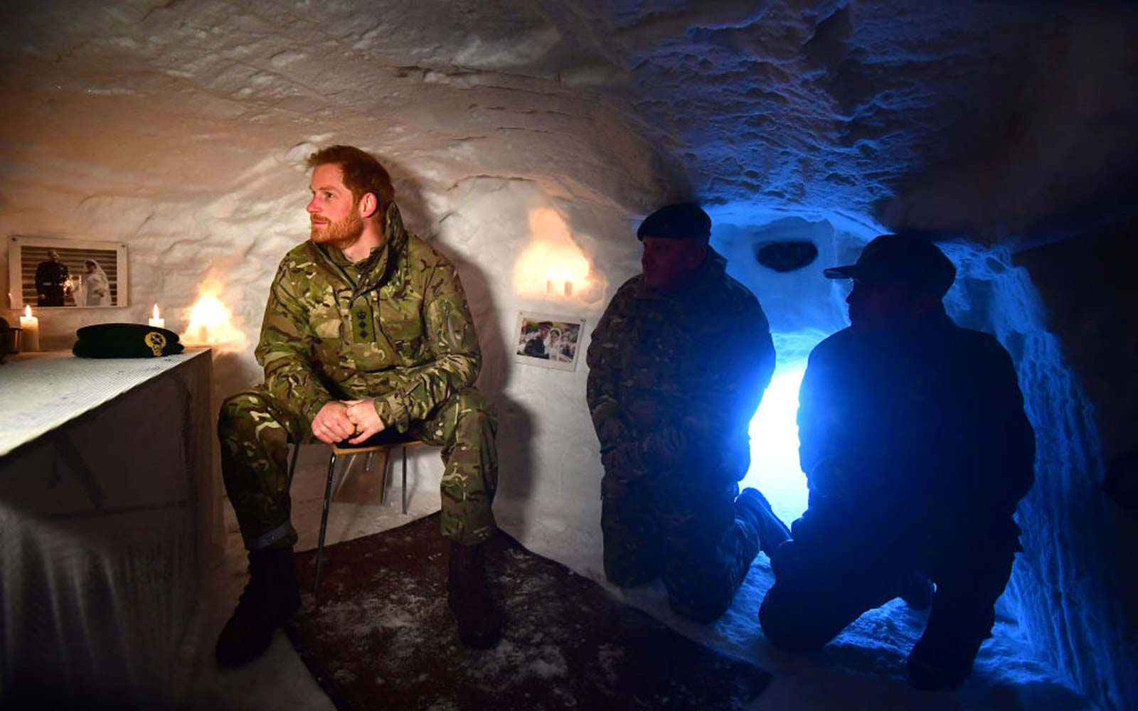 Prince Harry,  Duke of Sussex in a Quincey Shelter, a makeshift shelter built of snow