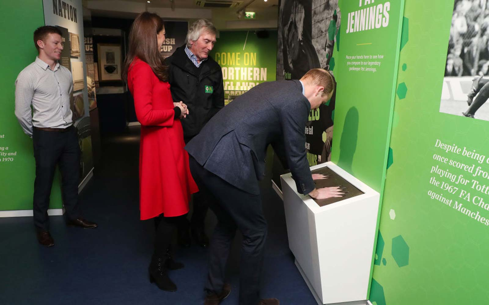 Prince William Duke of Cambridge and Catherine, Duchess of Cambridge, meet former Northern Ireland goalkeeper Pat Jennings during a visit the National Stadium in Belfast, home of the Irish Football Association