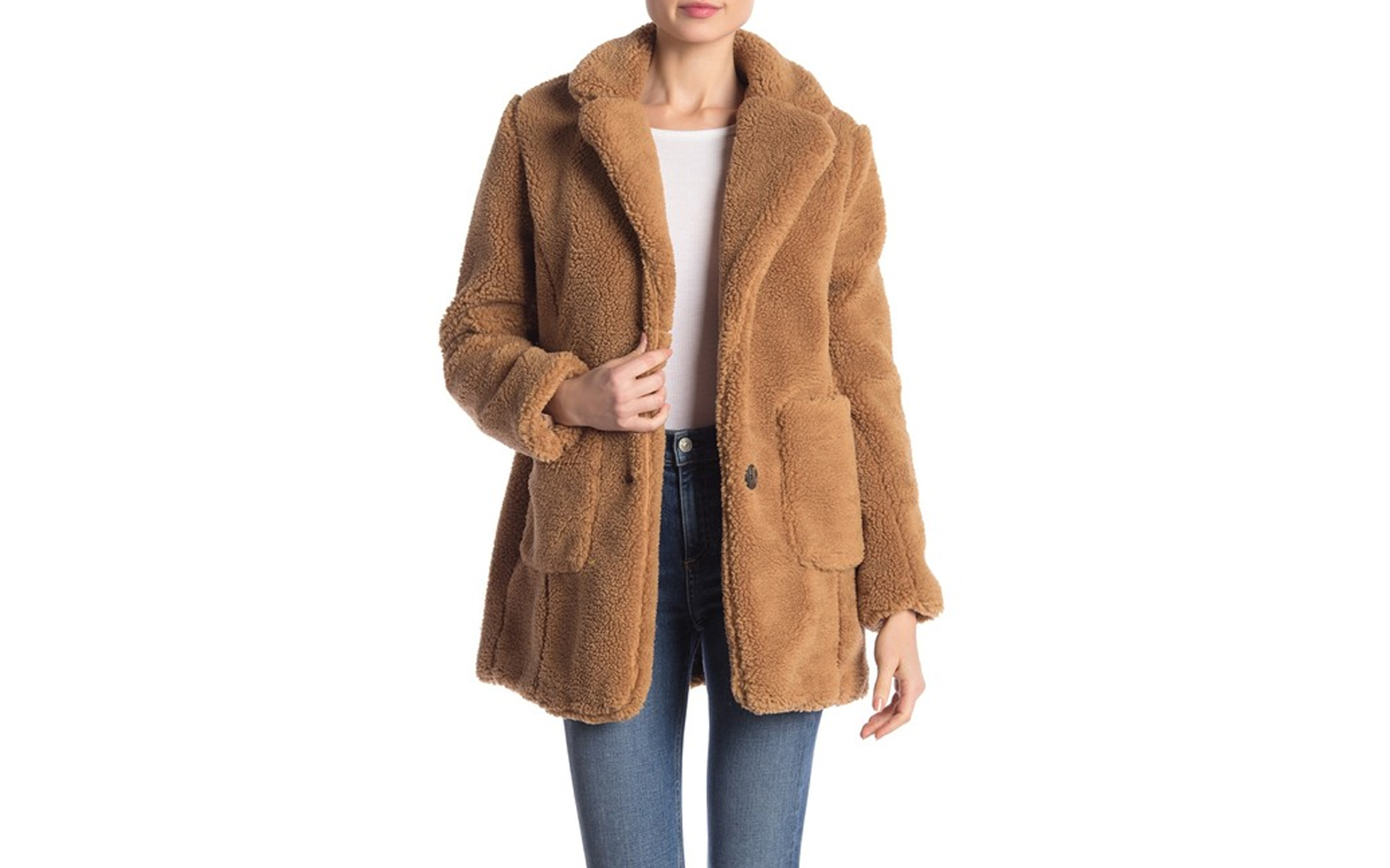 Sebby Notch Lapel Faux Shearling Jacket