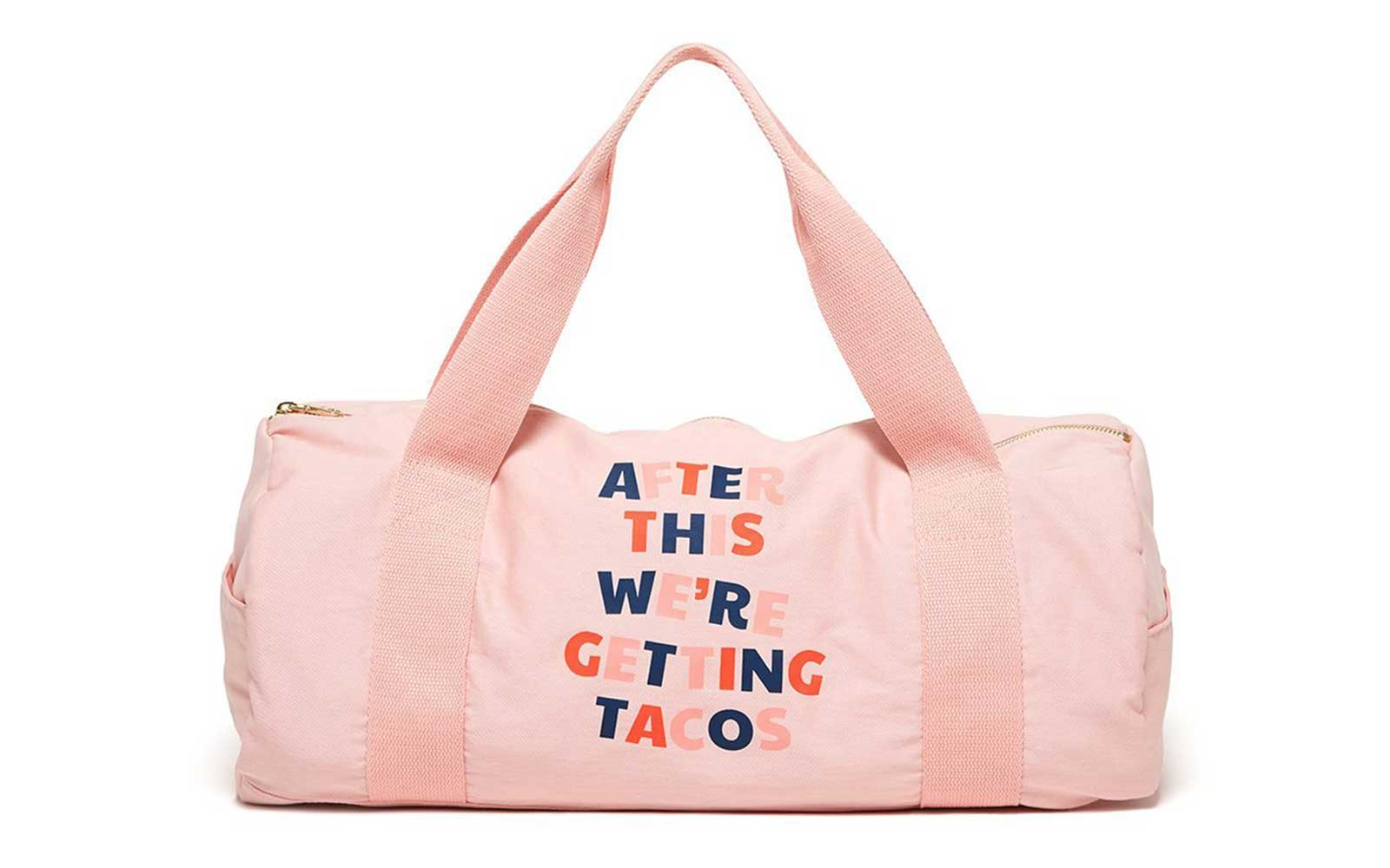 Pink novelty gym bag from ban.do