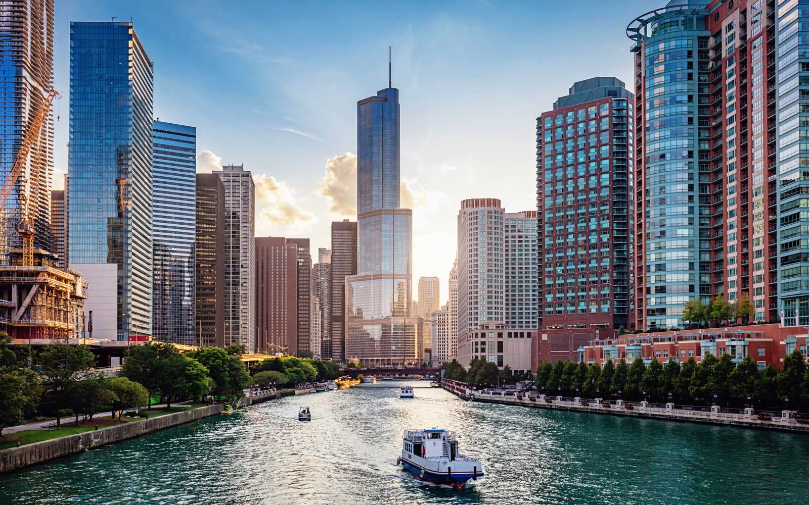 Chicago cityscape and river at sunset