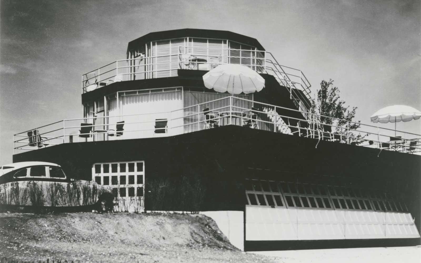 Original exterior of the House of Tomorrow, a Century of Progress display house