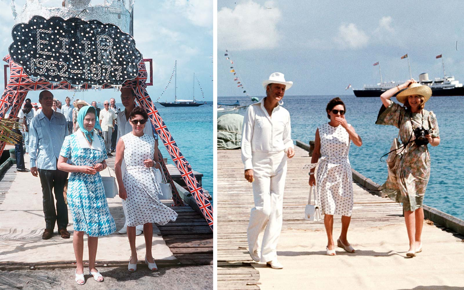 Queen Elizabeth II arrives in Mustique, Saint Vincent and is welcomed by Princess Margaret