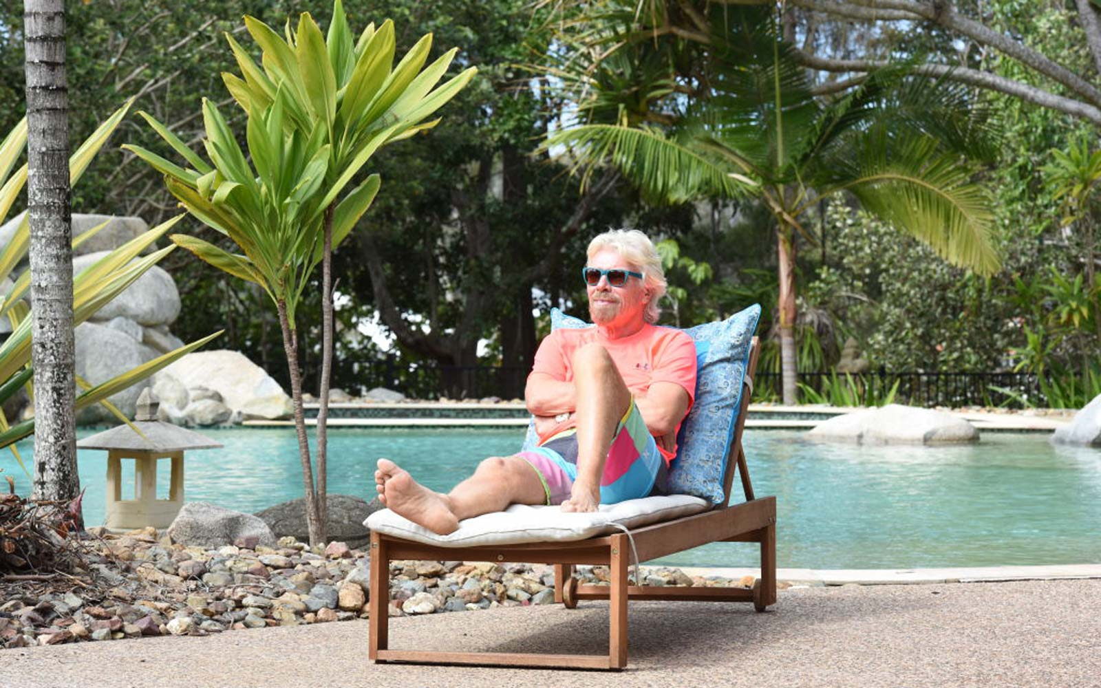 Sir Richard Branson on his Australian Island, MakePeace, Noosa, Queensland, Australia
