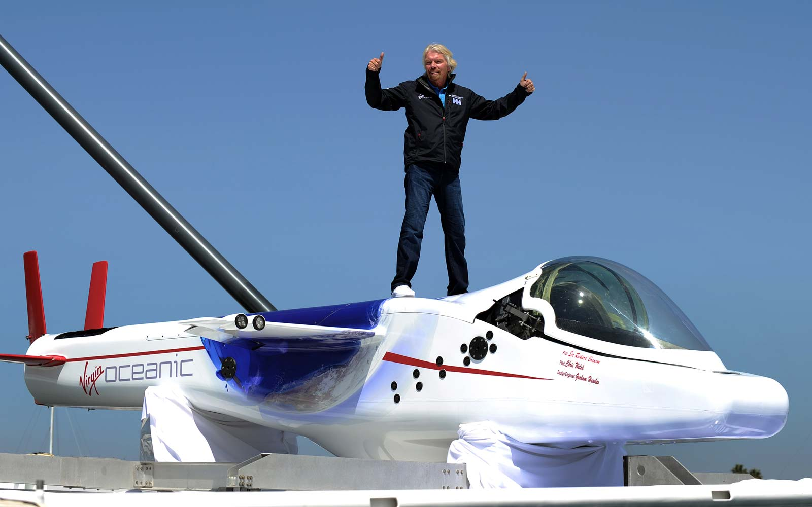 Sir Richard Branson attends a press conference in Newport Beach, California on April 5, 2011 to announce plans to take a solo piloted submarine to the deepest points in each of the wolrd's five oceans