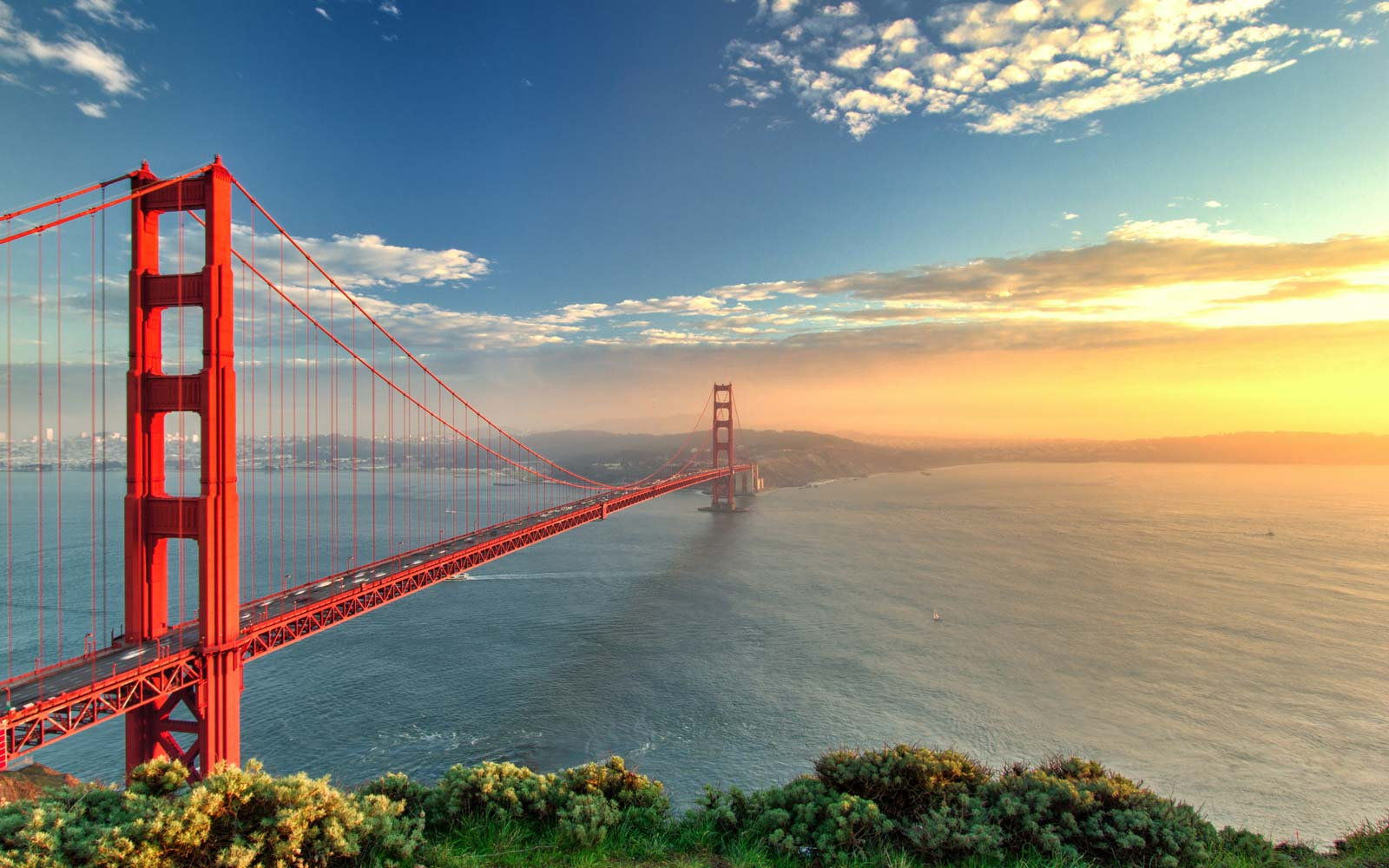 The Golden Gate Bridge during sunset in San Francisco, California.