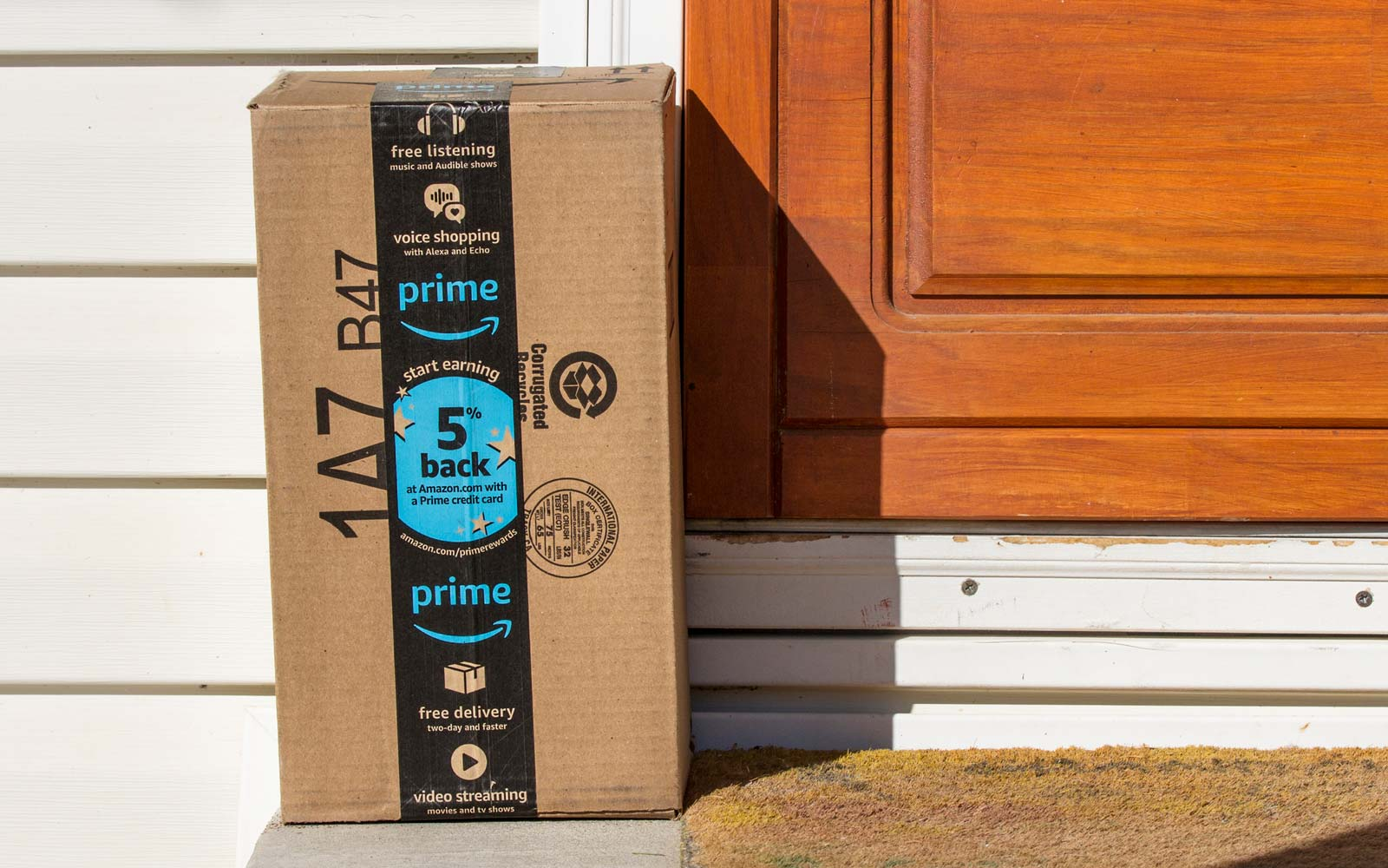 Amazon package that was just delivered to an amazon prime member