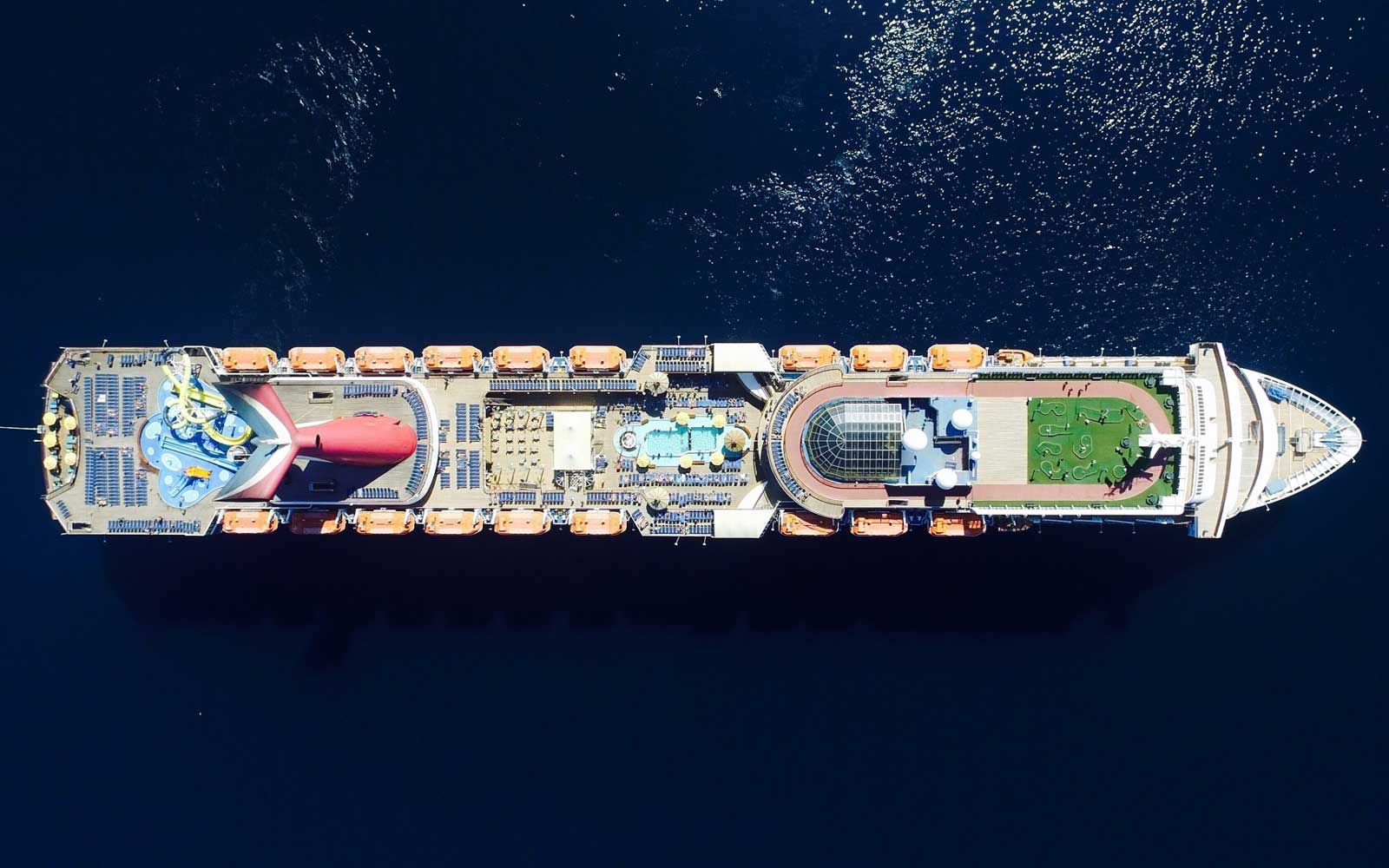Aerial View Of Mega Cruise Ship On Sea