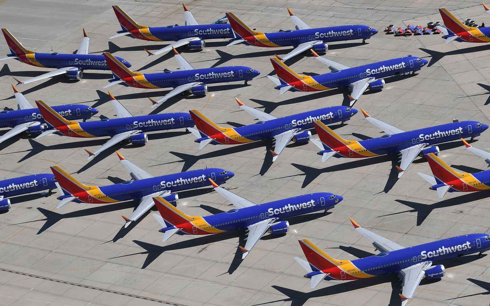 Southwest Airlines Boeing 737 MAX aircraft are parked on the tarmac