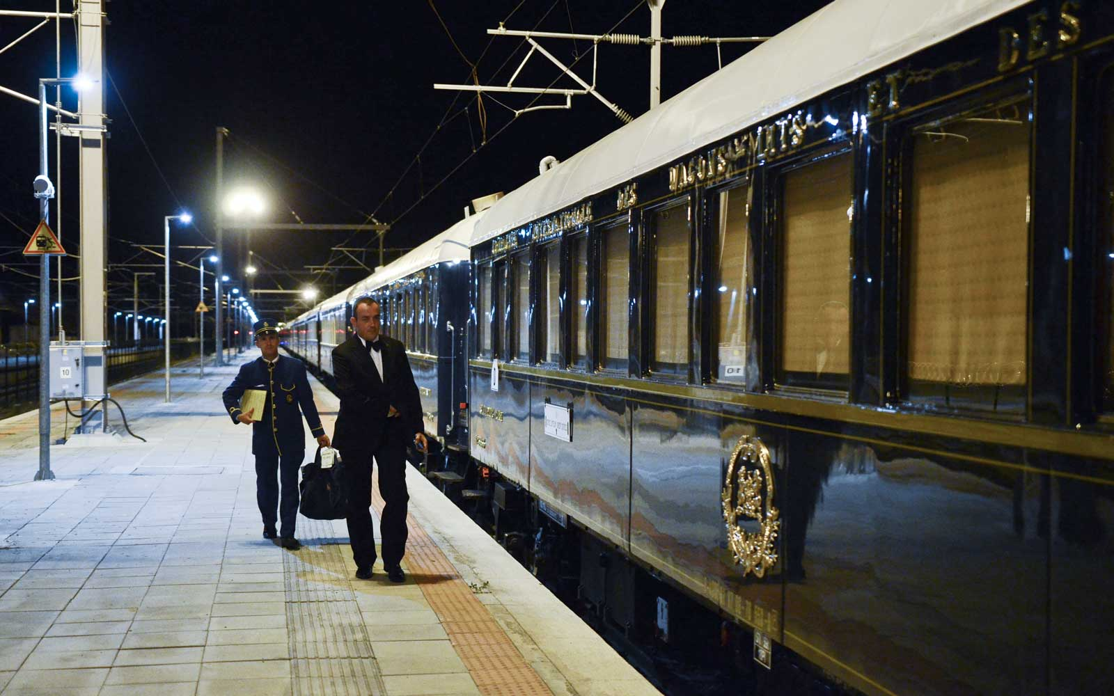 Venice Simplon Orient Express train and crew in Bulgaria