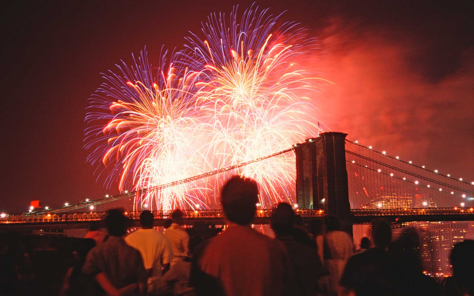 Independence Day Fireworks over Brooklyn Bridge