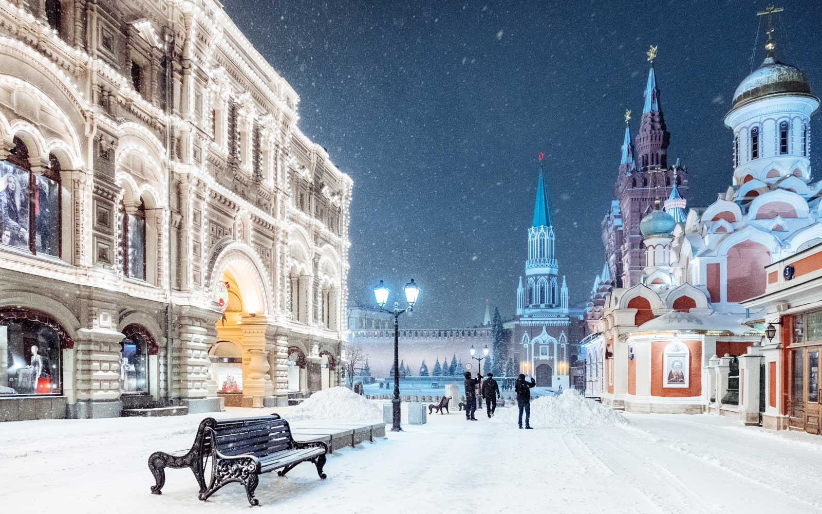 Night view of the Red Square in Moscow, Russia during a snowstorm