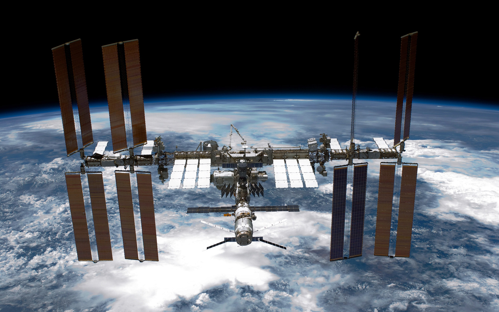 International Space Station (ISS) is seen from NASA space shuttle Endeavour