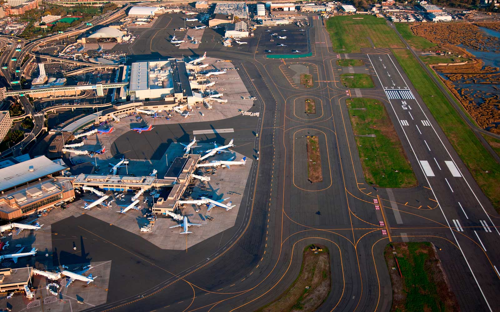 AERIALS VIEW of Logan International Airport, Boston, MA