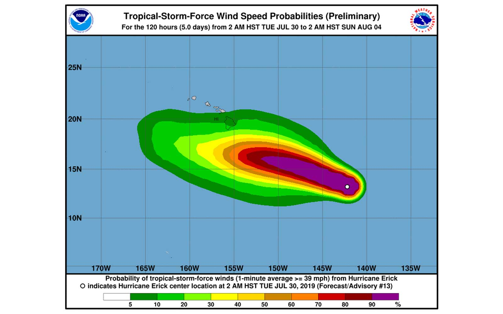 Hurricane Erick winds NOAA NWS NHC