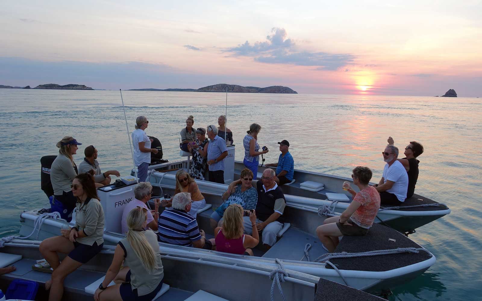 Sunset drinks on rafts with True North, in the Kimberley, Australia