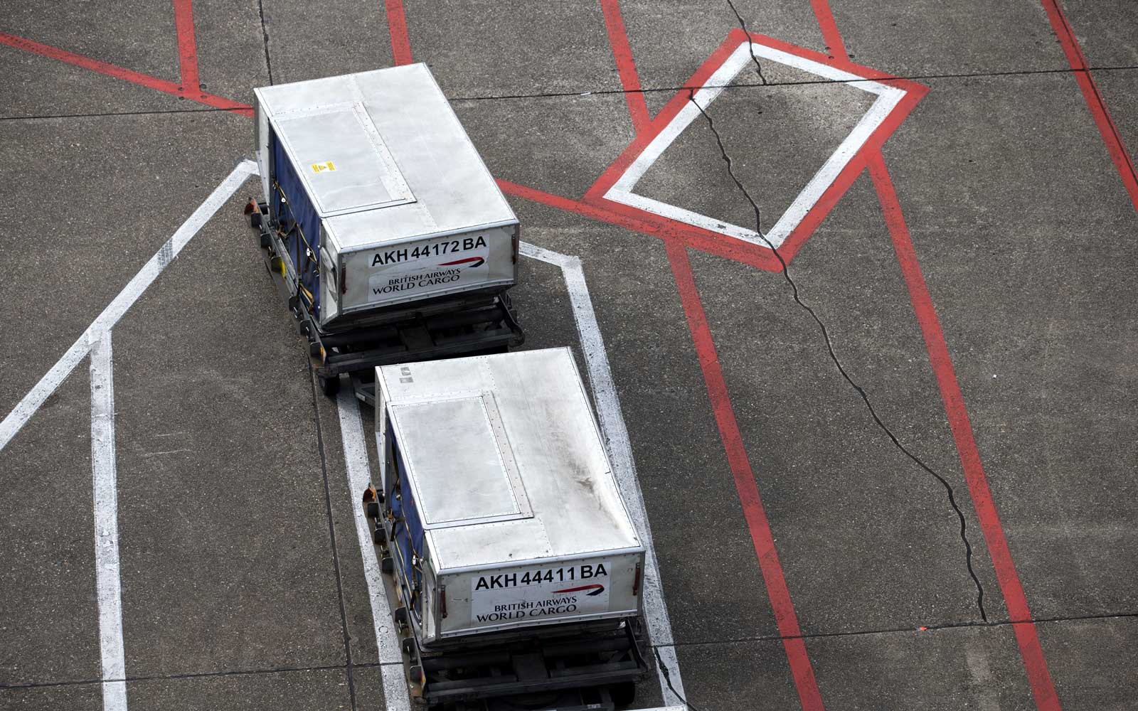 Airplane cargo on tarmac