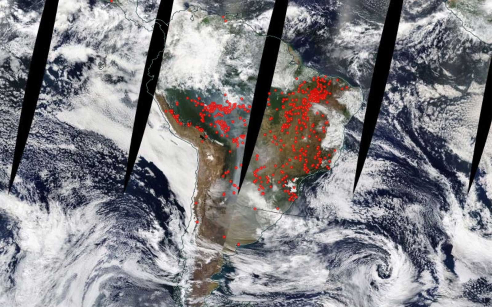 NASA satellite detections of fire