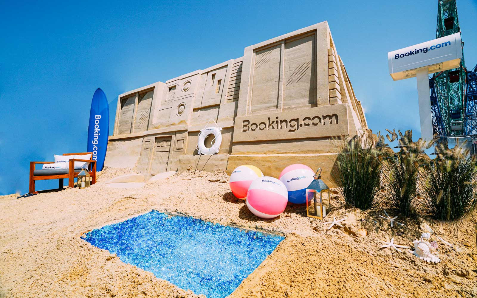 exterior of the the Booking.com sandcastle