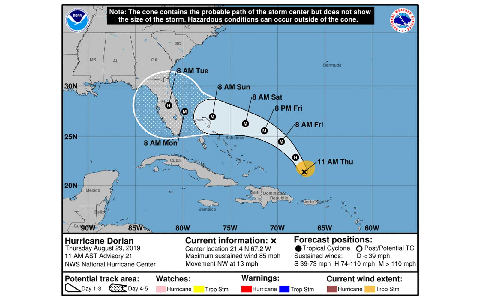 Hurricane Dorian Arrival Time Projections