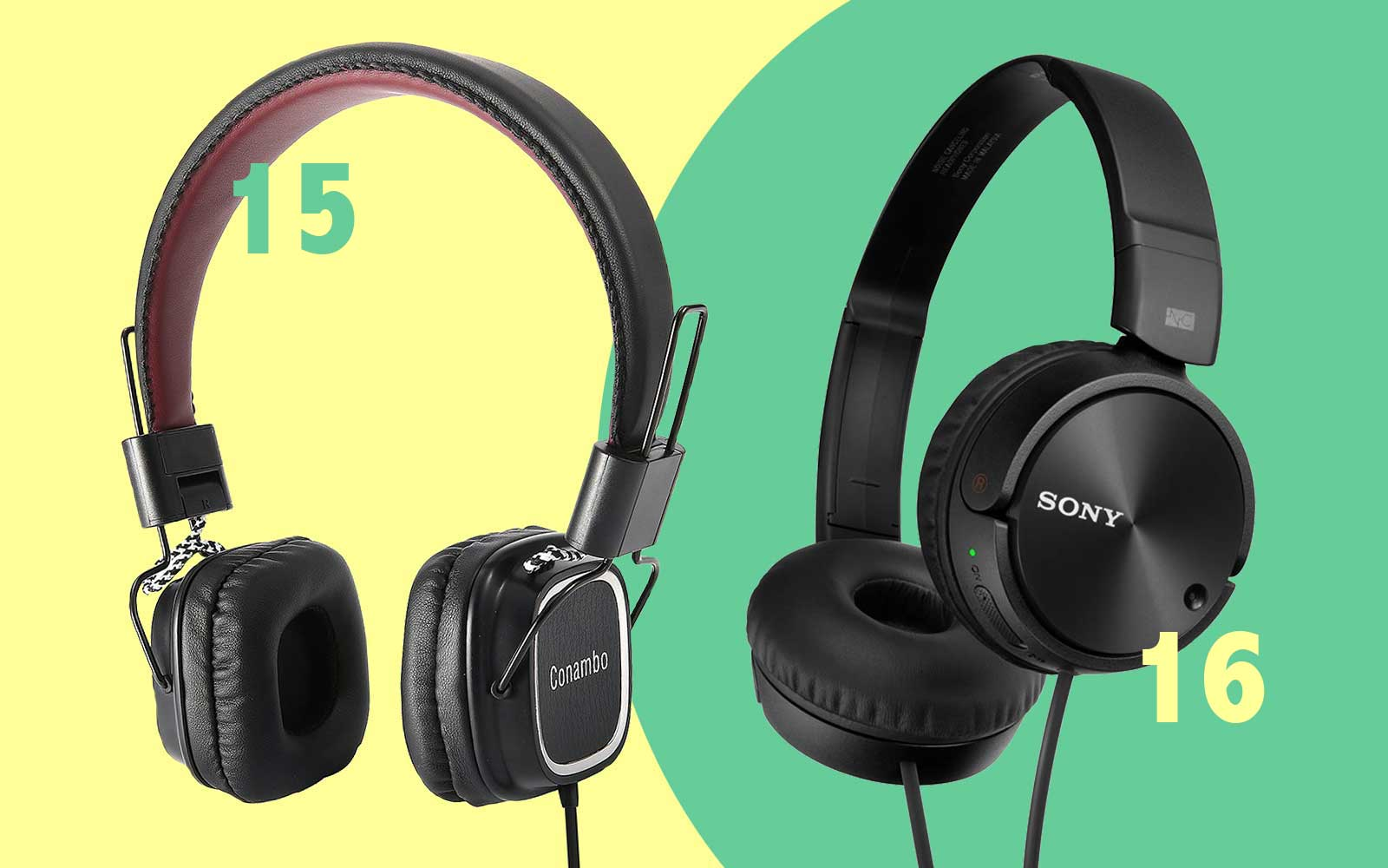 Wired noise-canceling headphones from Conambo and Sony