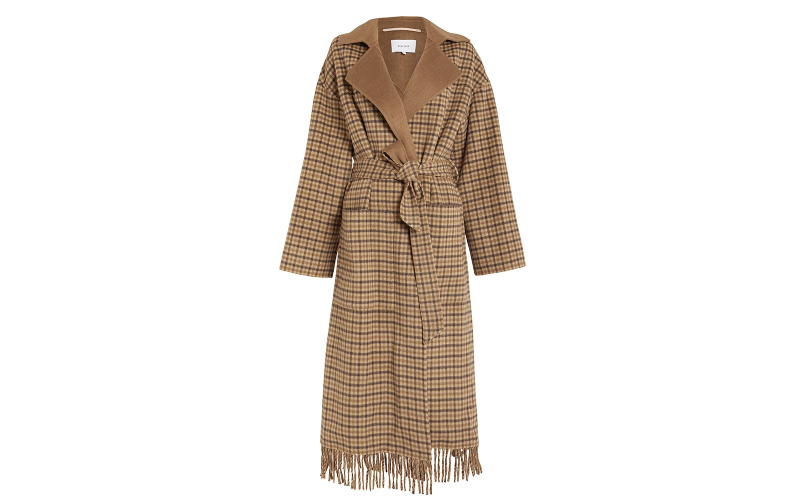NANUSHKA Alamo Plaid Wool Wrap Coat