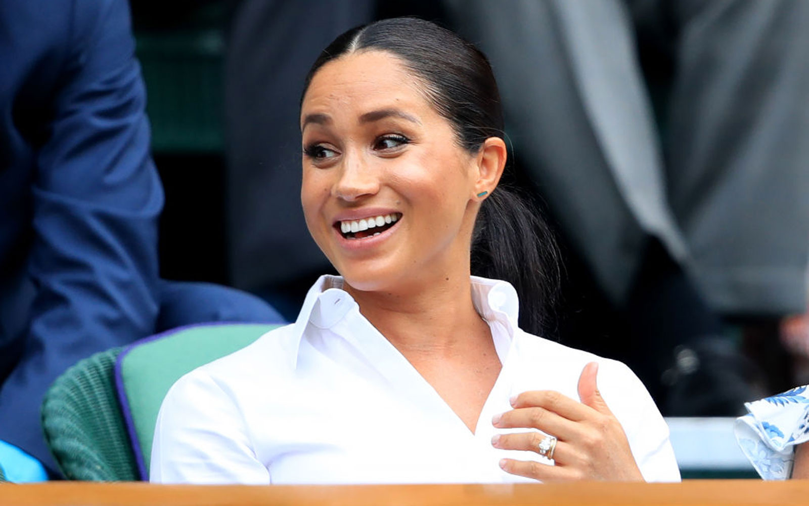 The Duchess of Sussex on day twelve of the Wimbledon Championships at the All England Lawn Tennis and Croquet Club, Wimbledon