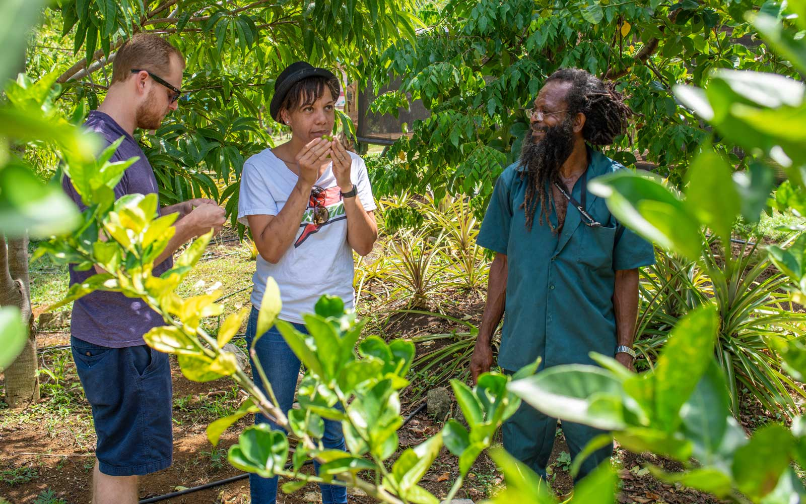 Nina Compton in the vegetable garden at Rockhouse, in Jamaica