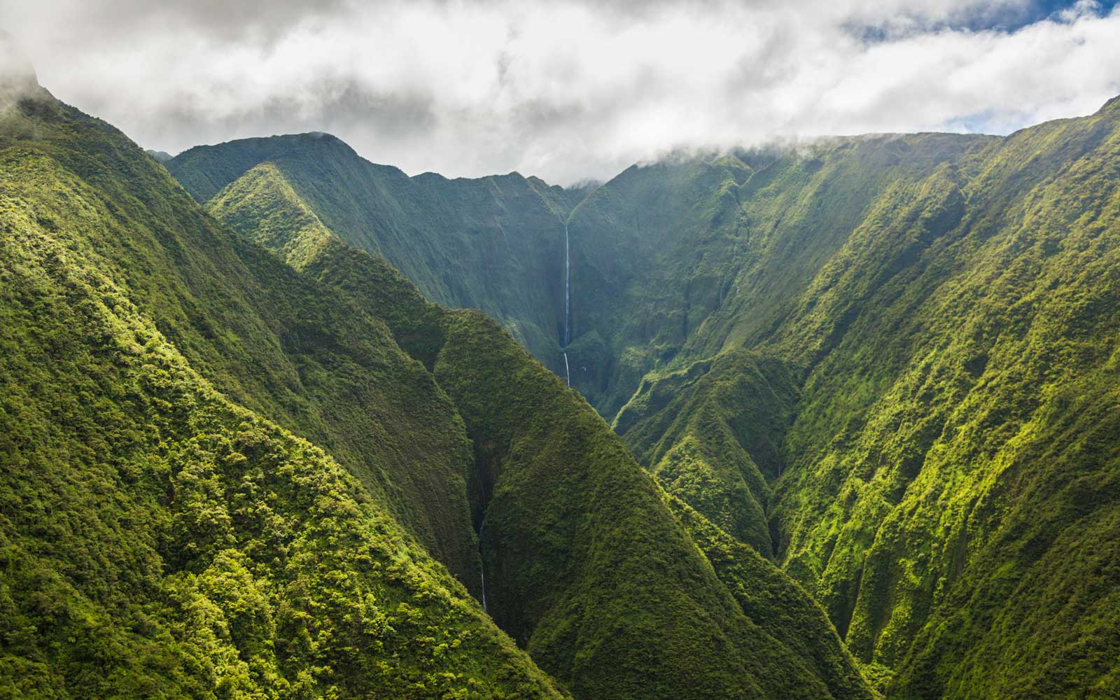 Waterfall hidden deep in Maui Valley