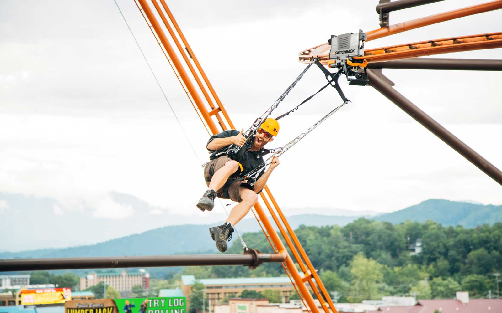 Zipline coaster at Paula Deen's Lumberjack Feud and Adventure Park