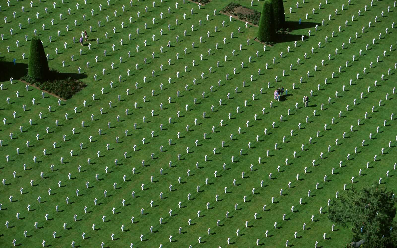 France, Colleville sur Mer, aerial view of the American Cemetery
