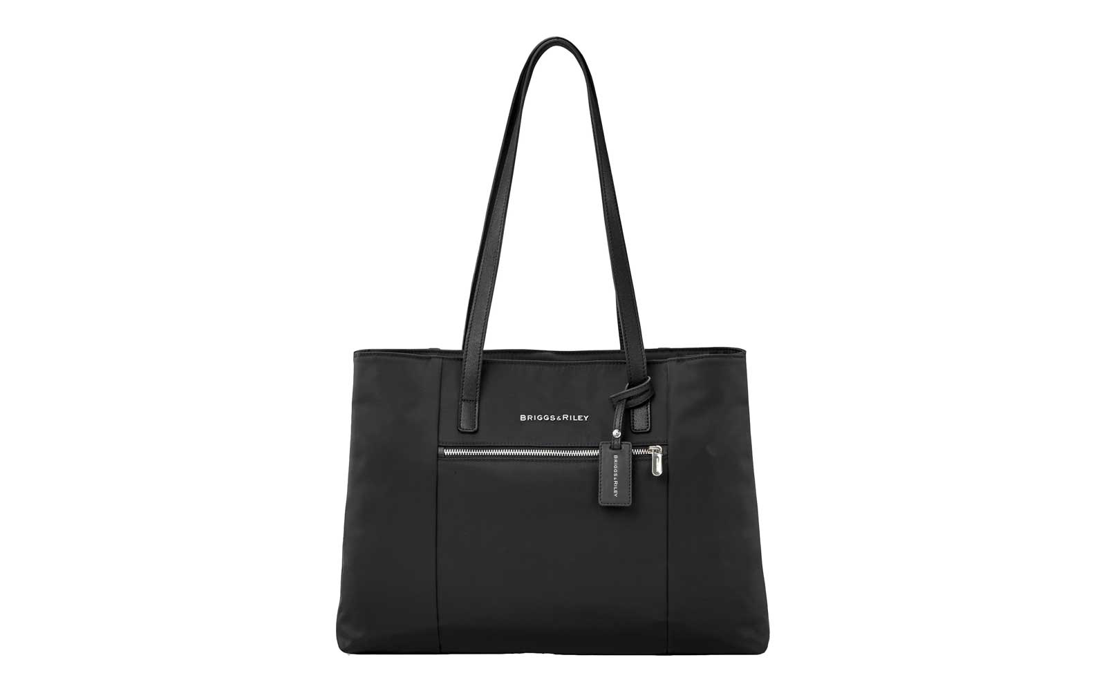 black tote with zipper on front and shoulder strap