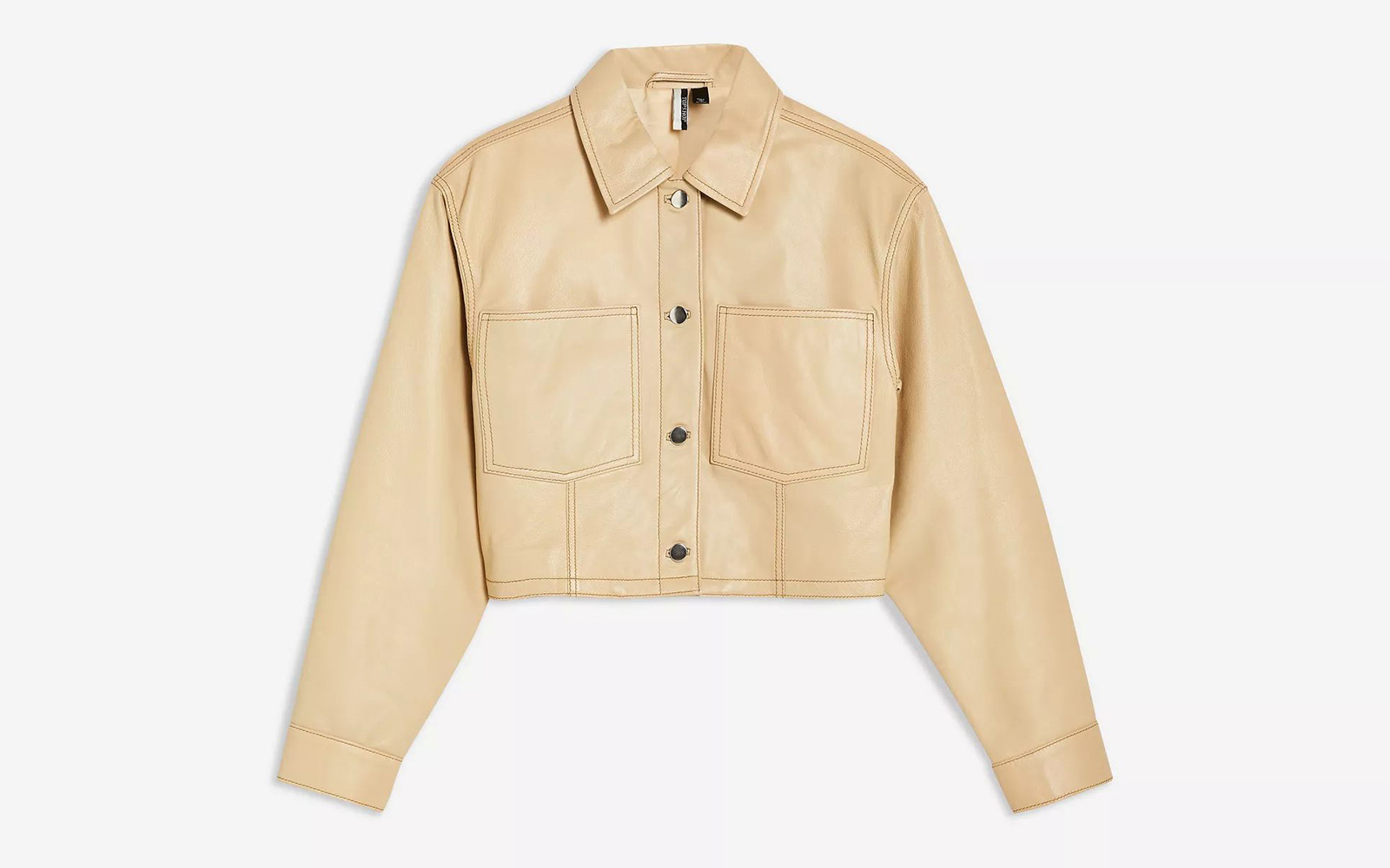 Topshop Cropped Western Leather Jacket