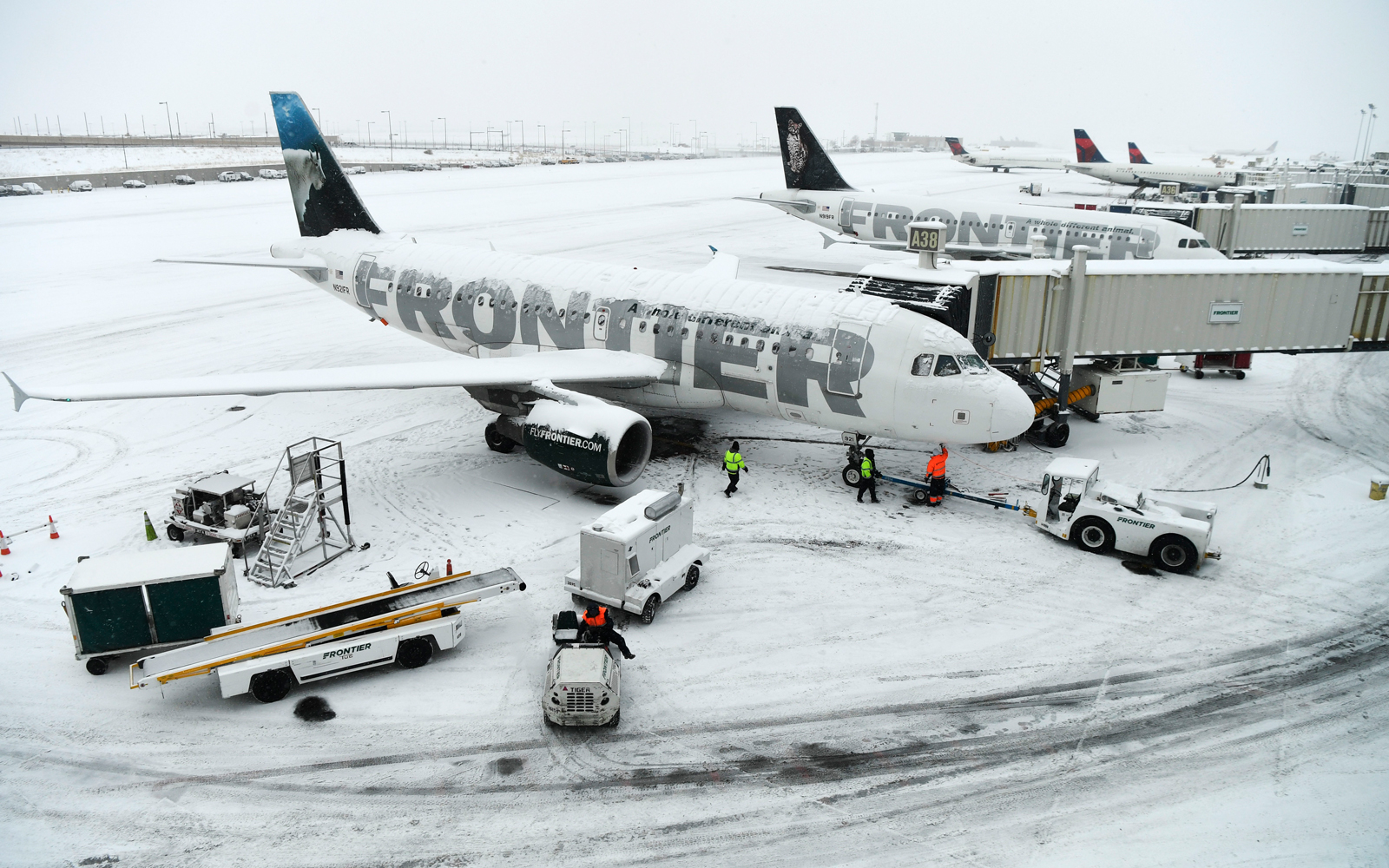 Frontier Airlines plane at Denver International Airport
