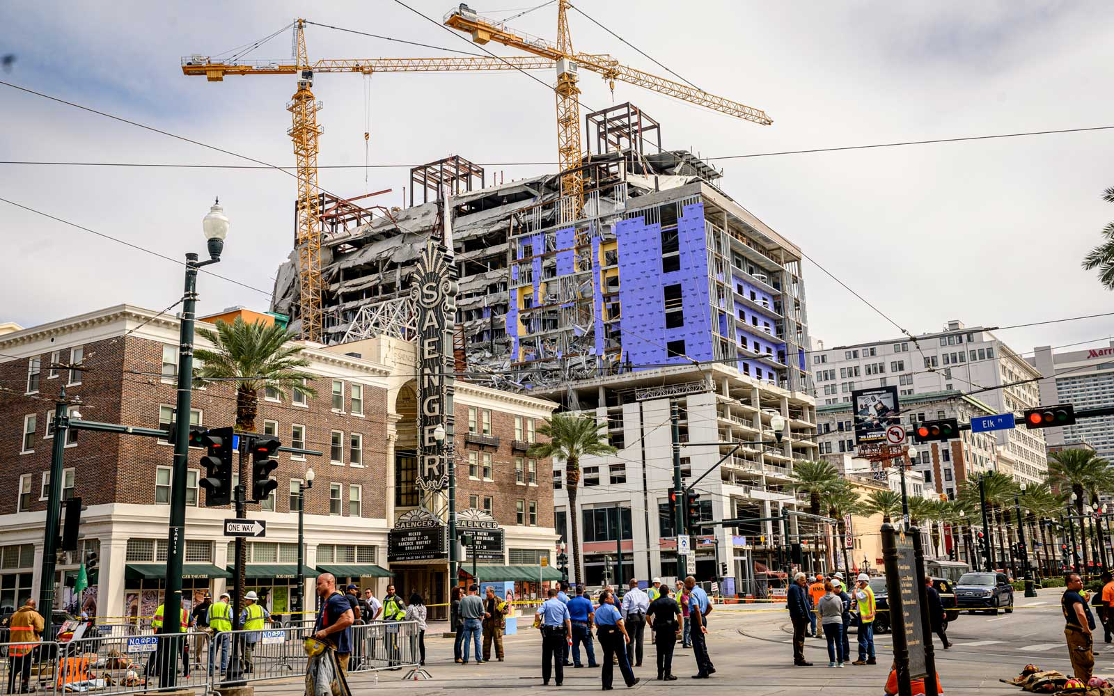 Partial building collapse at the Hard Rock Hotel construction site downtown New Orleans, Louisiana on October 12, 2019.