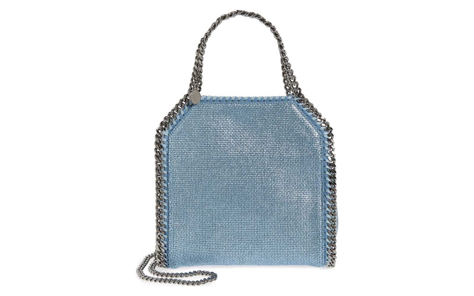 metallic light blue tote bag with silver chain handle and shoulder strap