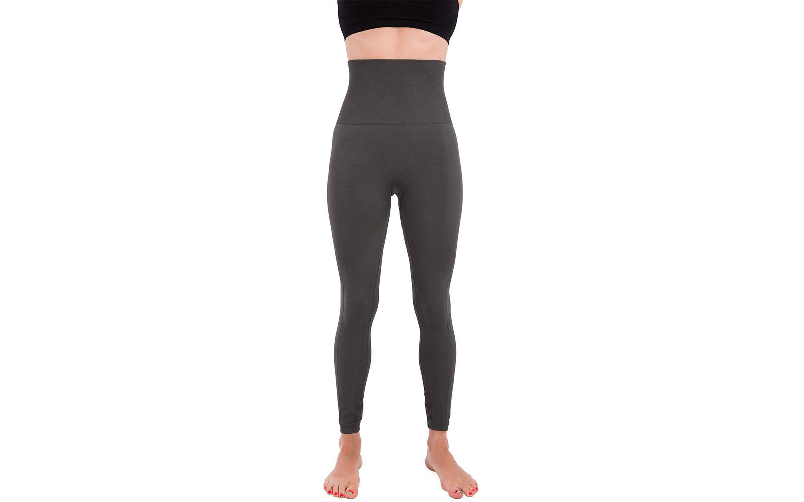 Homma Premium Thick High Waist Tummy Compression Slimming Leggings - Charcoal