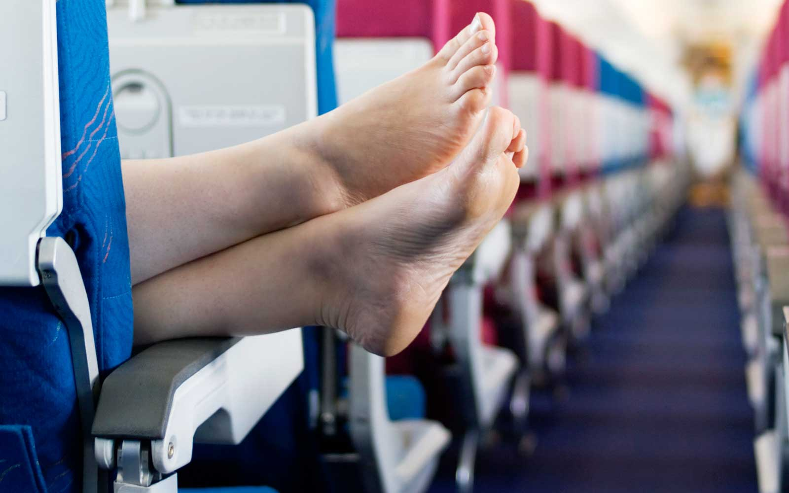 Airplane passenger without shoes