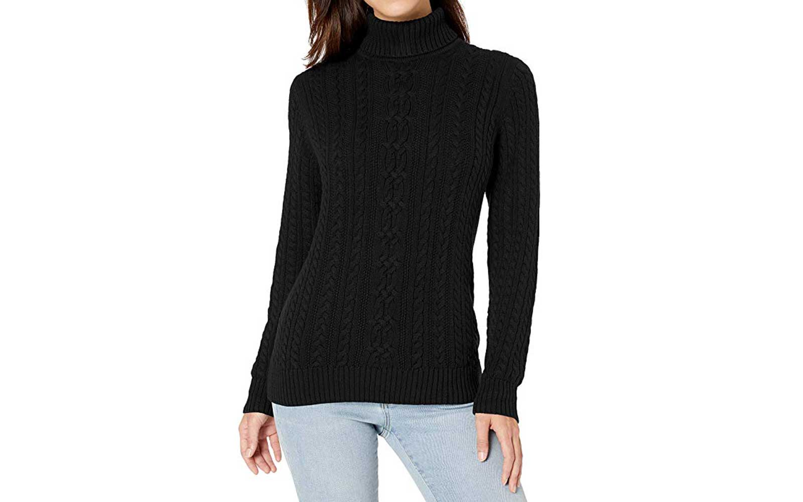 Black Cable-knit Turtleneck Sweater