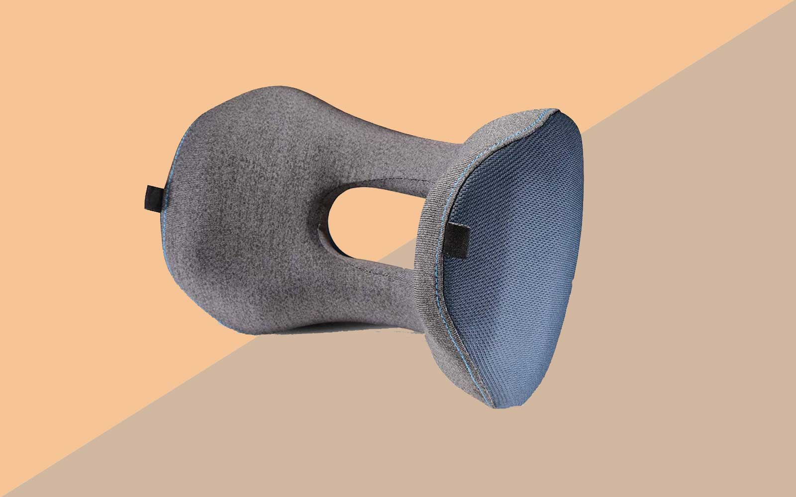 Blue and Grey Ergonomic Travel Pillow