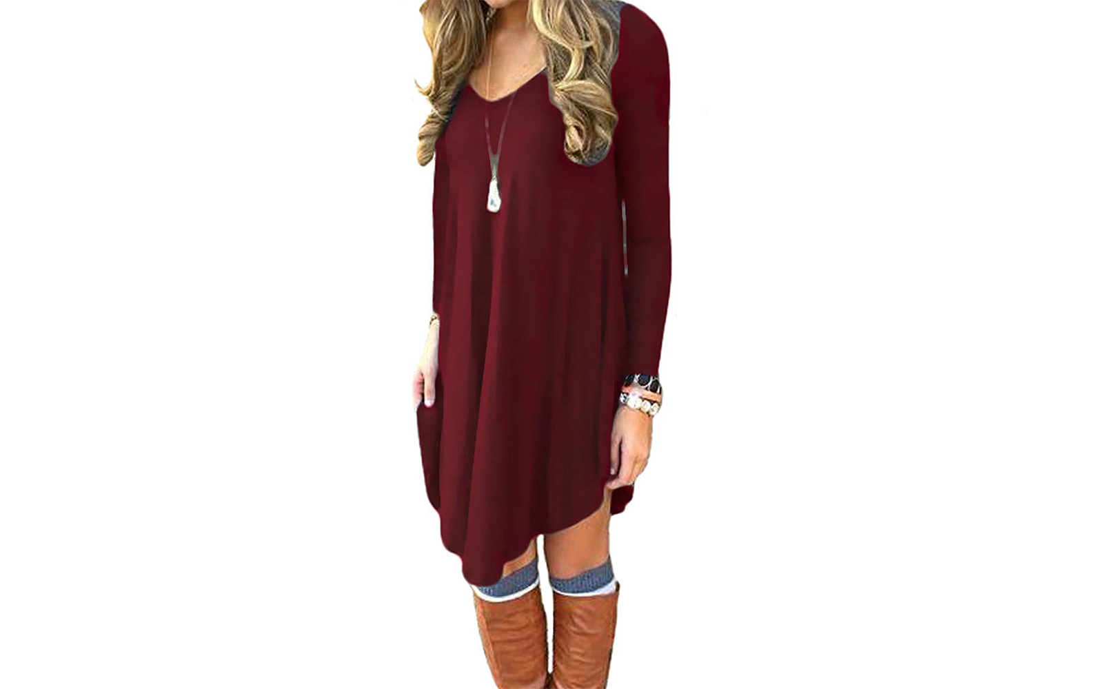 DEARCASE Women's Long Sleeve Casual Loose T-Shirt Dress